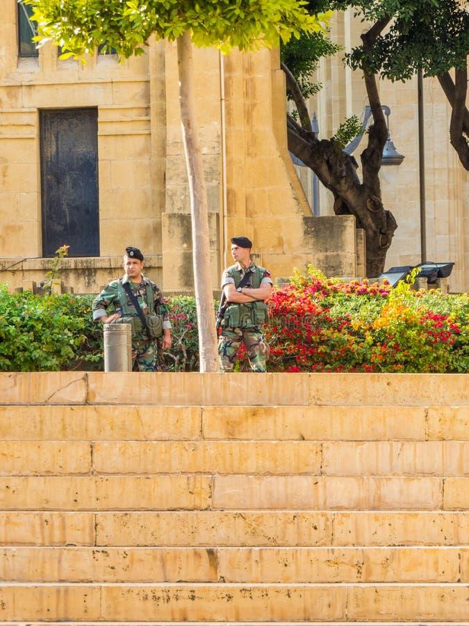 Soldados em Beirute, Líbano foto de stock