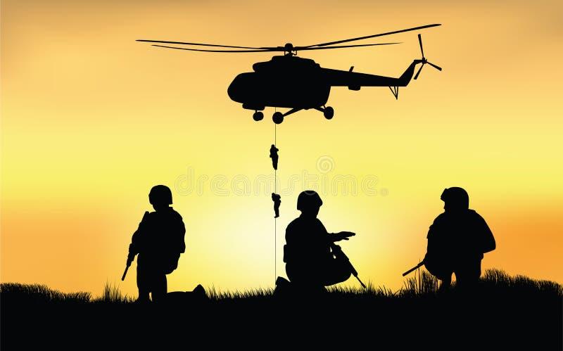 Soldados en el funcionamiento de la misión de combate ilustración del vector