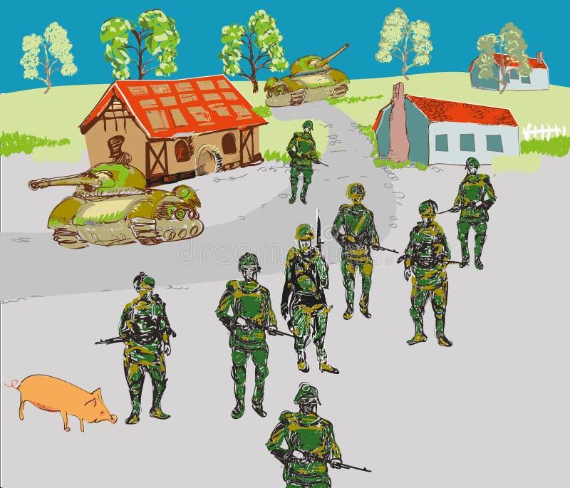 Soldados en la ciudad libre illustration