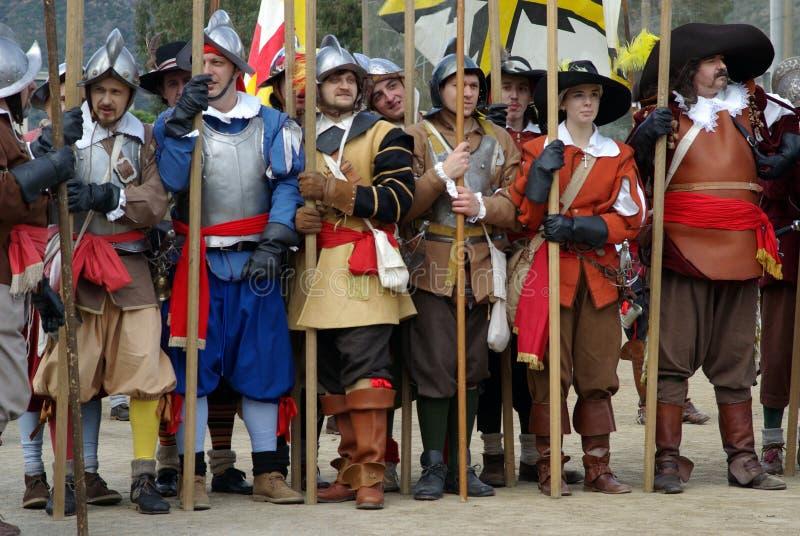 Soldados medievales foto de archivo