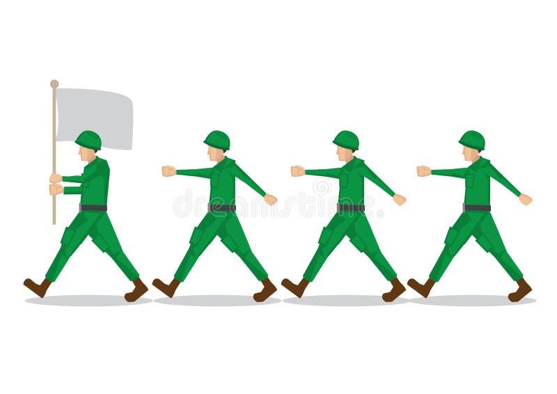 Soldados militares no uniforme verde que combina com seu oficial de exército da equipe e sua bandeira do exército Ilustração do v ilustração do vetor