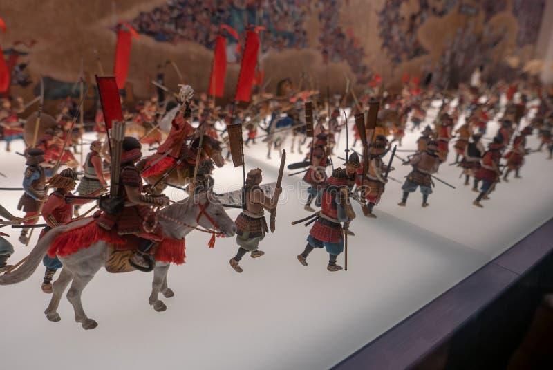 Soldados miniatura en el castillo de Osaka en Japón fotos de archivo libres de regalías
