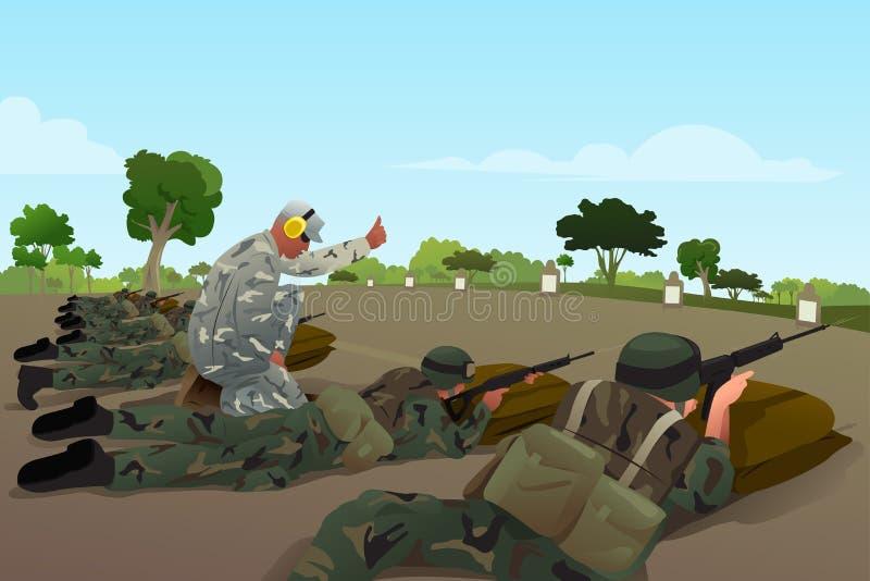 Soldados no treino militar ilustração stock