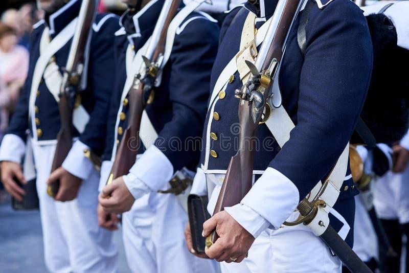 Soldados portugueses do século XIX das tropas fotografia de stock