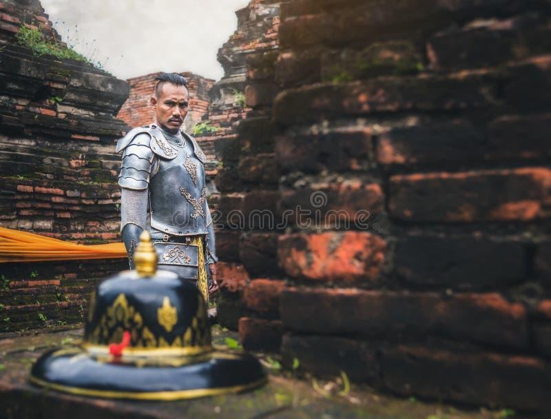 Soldados tailandeses antiguos listos para luchar para el hist del pasado de la nación adentro fotos de archivo
