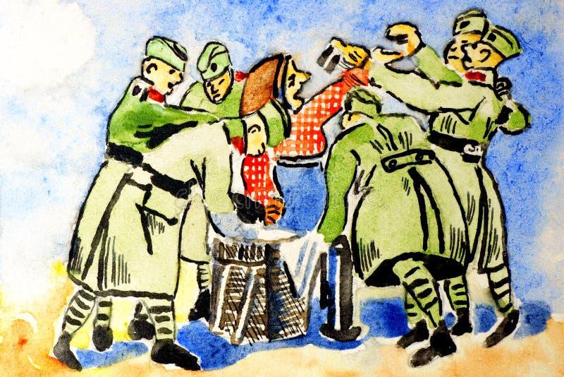 Soldados y abuela. libre illustration