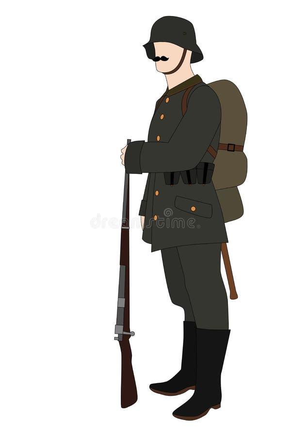 Soldat allemand 1918 d'isolement sur le fond blanc illustration stock