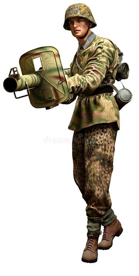 Soldat allemand de solides solubles avec le panzerschreck illustration libre de droits