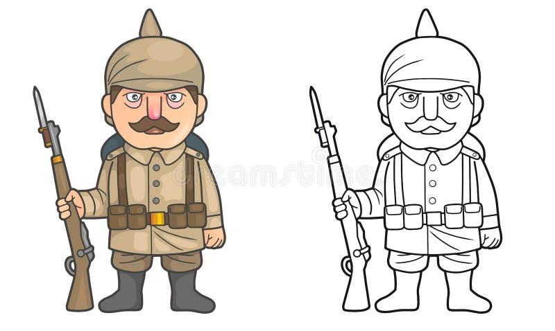 Soldat allemand pendant la Première Guerre Mondiale illustration de vecteur