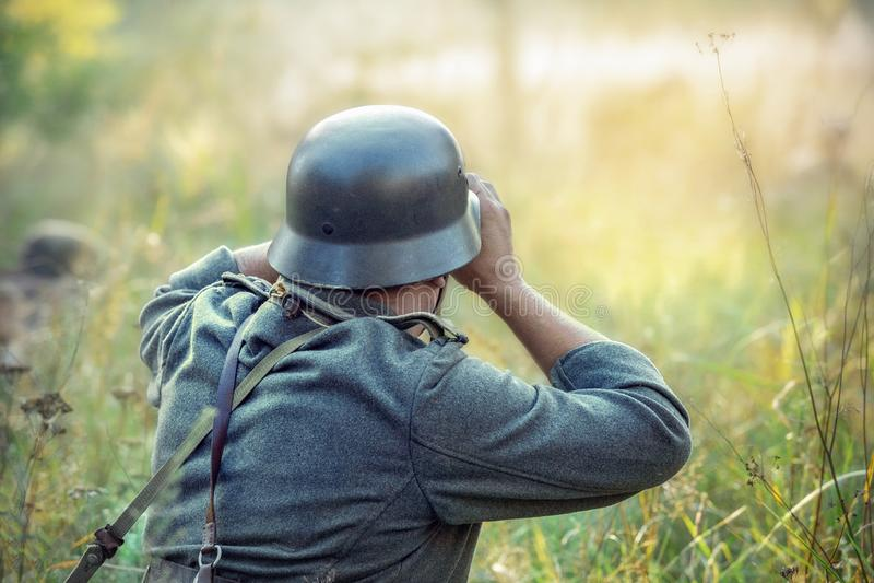 Soldat allemand Reconstitution militaire photo stock