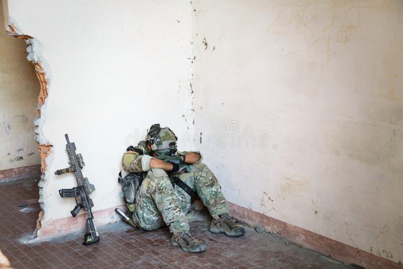 Soldat américain épuisé images stock