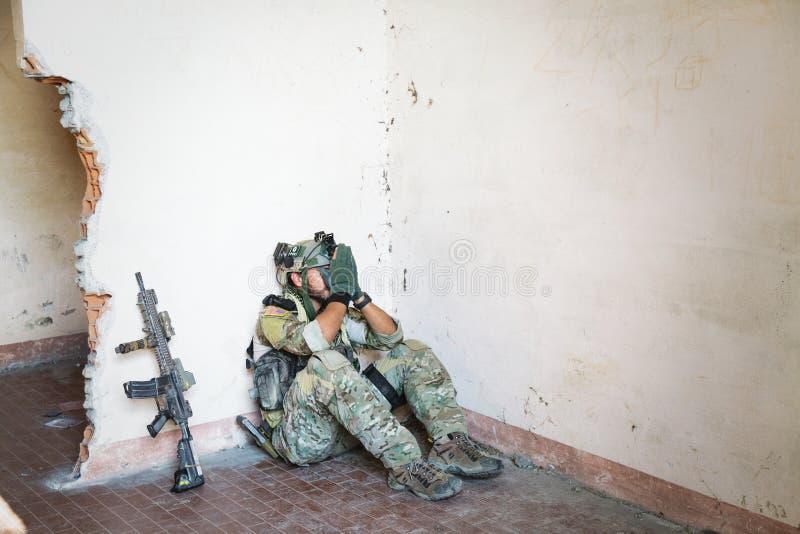 Soldat américain choqué photographie stock libre de droits