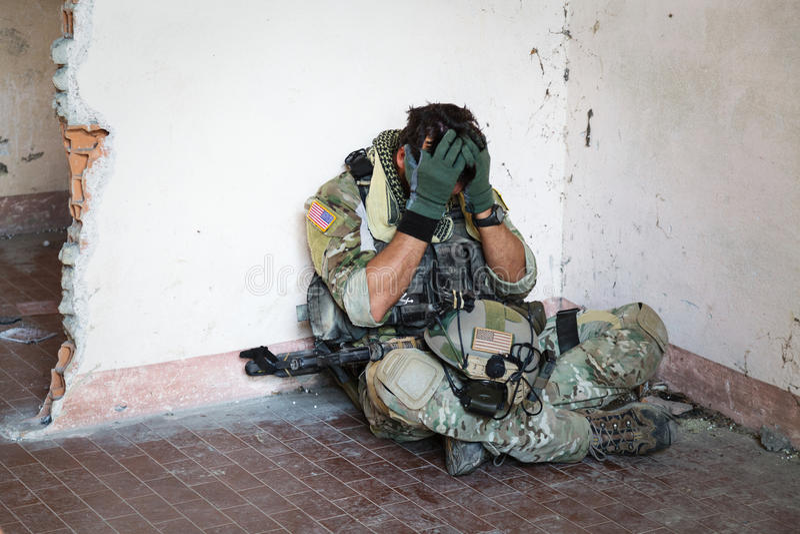 Soldat américain choqué photo libre de droits