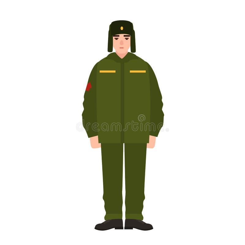 Soldat av den ryska för armévinter för beväpnad styrka bärande likformign och pälshatten Militär man, lakej eller infanterist som stock illustrationer