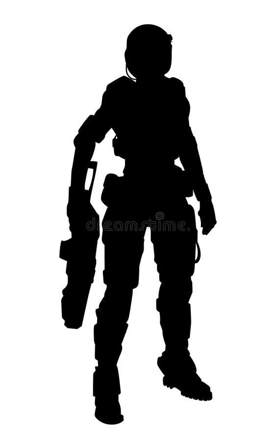 Soldat av framtid stock illustrationer