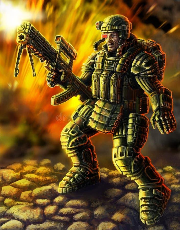 Soldat av framtiden Scienceoriginaltecken vektor illustrationer