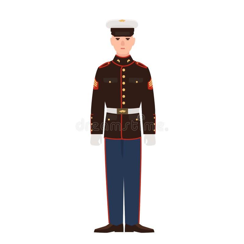 Soldat av USA beväpnad styrka som bär för att ståta likformign och locket Amerikansk militär man, sergeant eller infanterist som  royaltyfri illustrationer