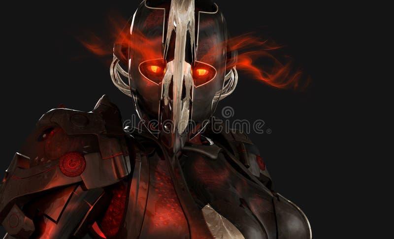 Soldat avancé de cyborg illustration de vecteur