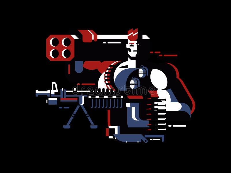soldat avec l'arme à feu illustration libre de droits
