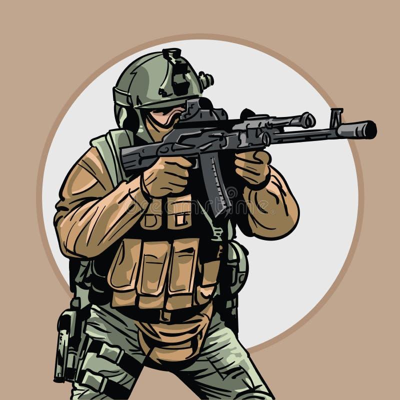 soldat avec l'arme à feu guerrier Forces spéciales illustration de vecteur