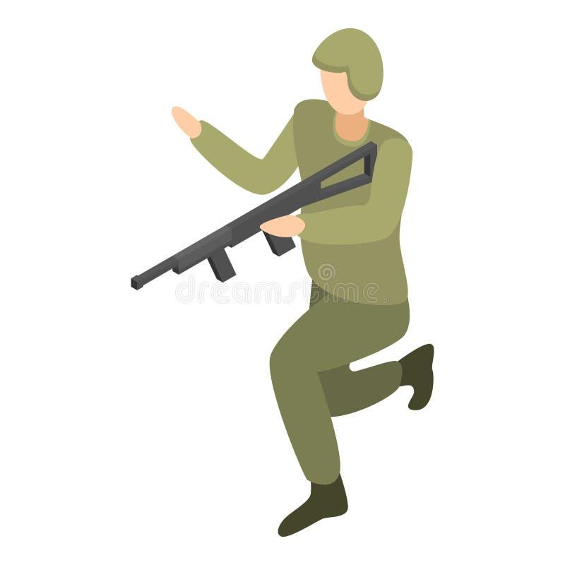 Soldat avec l'icône de fusil, style isométrique illustration de vecteur
