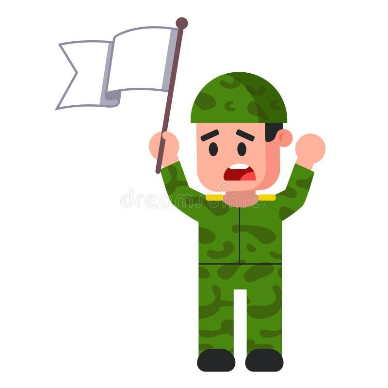 Soldat avec le drapeau blanc forme verte de camouflage illustration stock