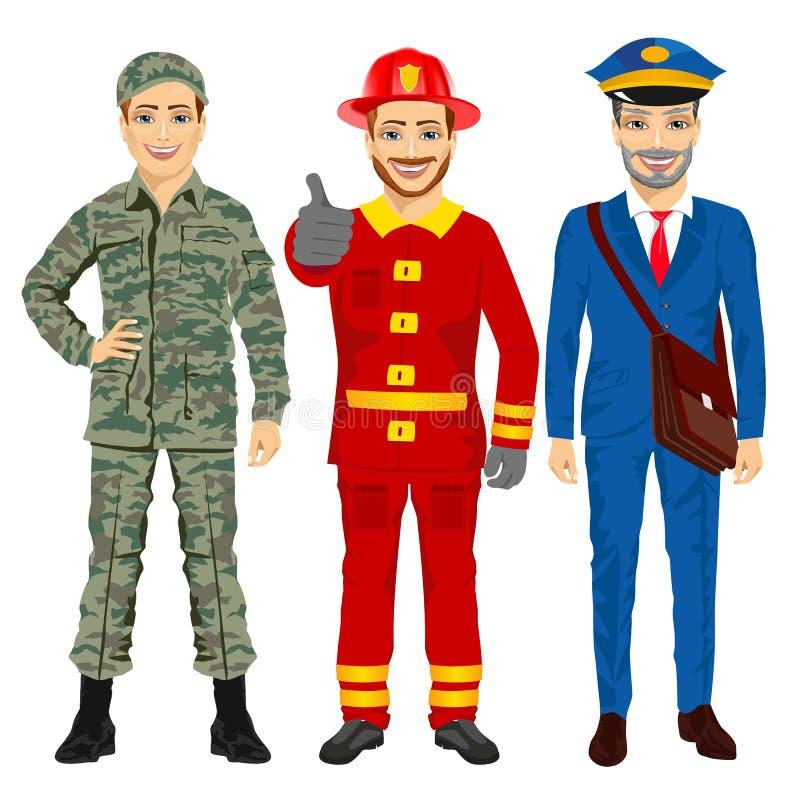 Soldat-, brandman- och brevbäraretecken vektor illustrationer