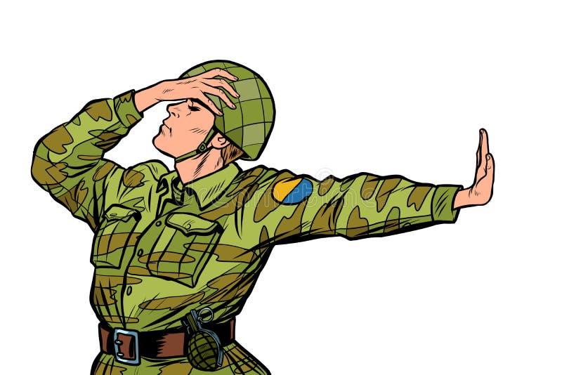 Soldat caucasien dans le geste uniforme de démenti de honte non anti pacifiste de militarisme illustration de vecteur