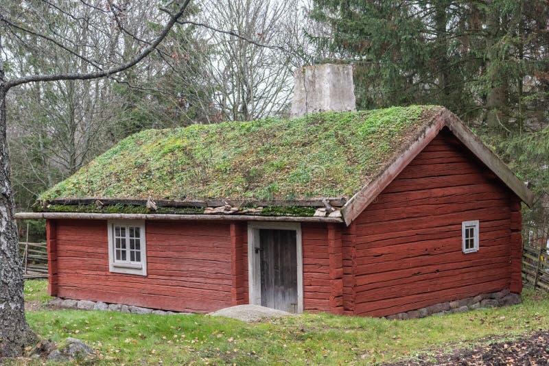 Soldat Cottage, datant du début du 19ème siècle, au musée en plein air de Skansen à Stockholm photographie stock