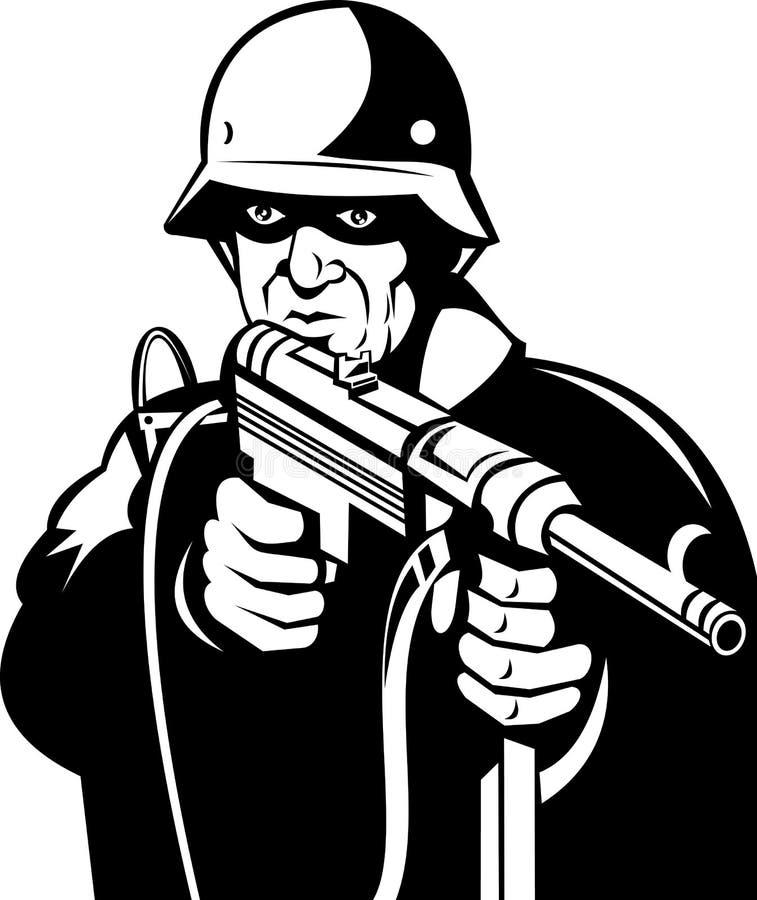 Soldat d'Allemand de la deuxième guerre mondiale illustration de vecteur