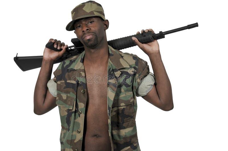 Soldat d'homme de couleur d'afro-américain images stock