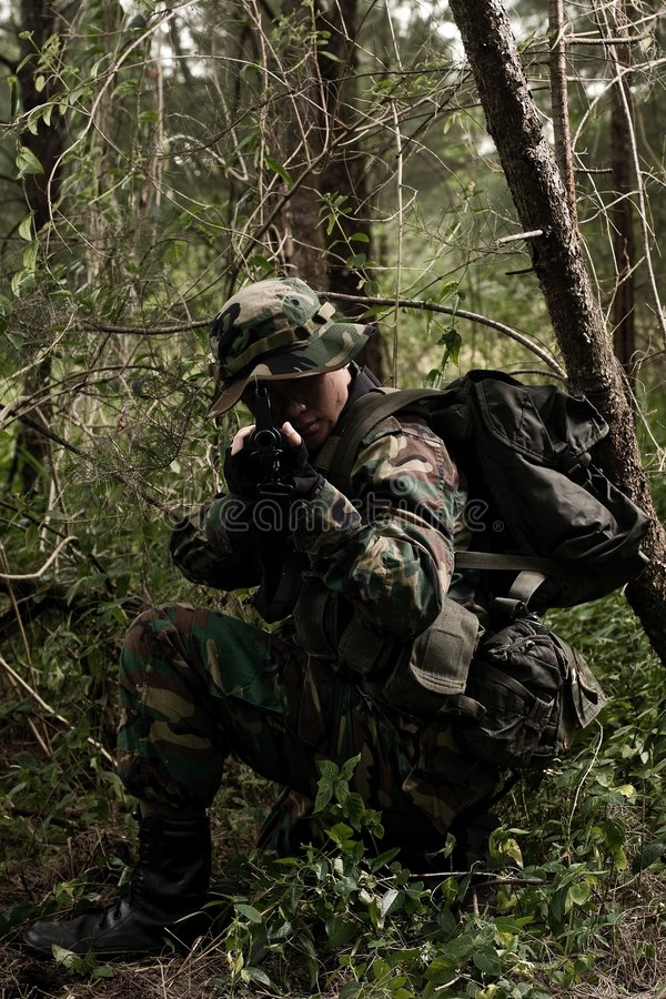 Soldat dans la jungle images stock