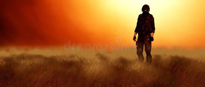 Soldat dans le domaine illustration de vecteur