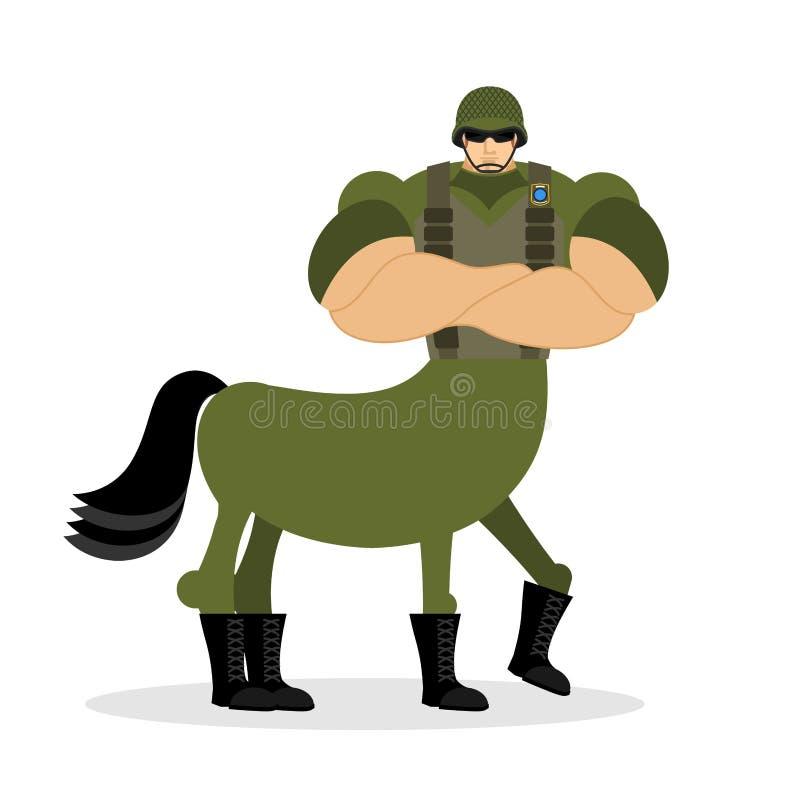 Soldat de centaure dans le casque Créature mythique militaire Demi hors illustration libre de droits