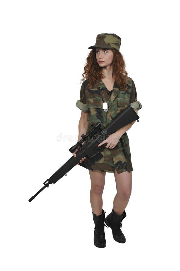Soldat de jeune femme photo stock