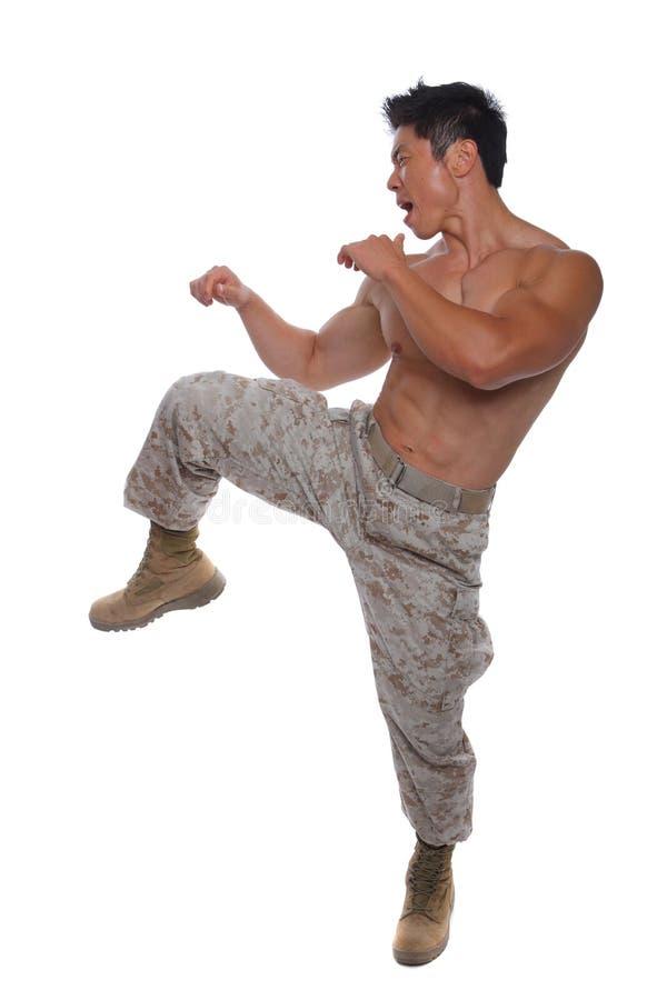 Soldat de marine musculaire dans la position de karaté dans l'uniforme photo libre de droits