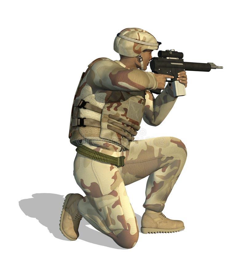 Soldat, der Gewehr zielt stock abbildung