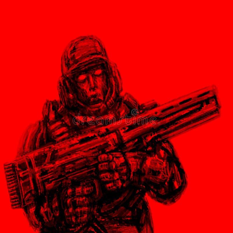 Soldat der Zukunft Front View Roter Hintergrund stock abbildung
