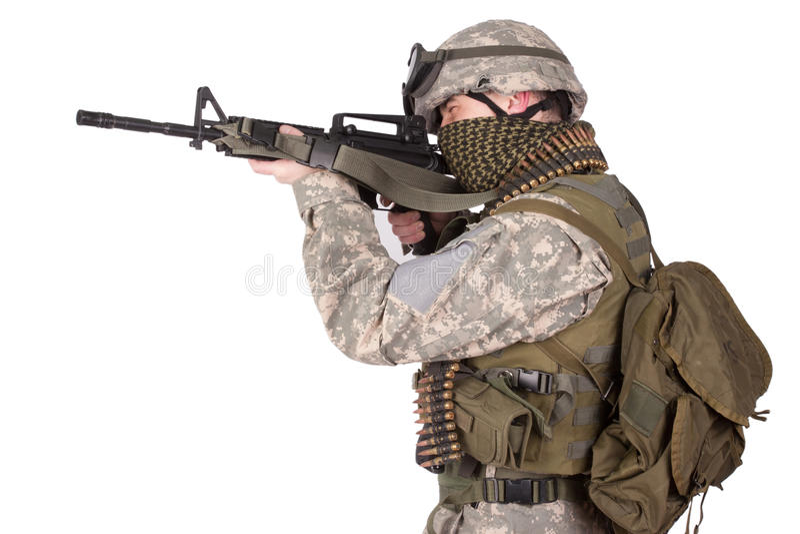 Soldat des USA avec le fusil d'assaut image libre de droits