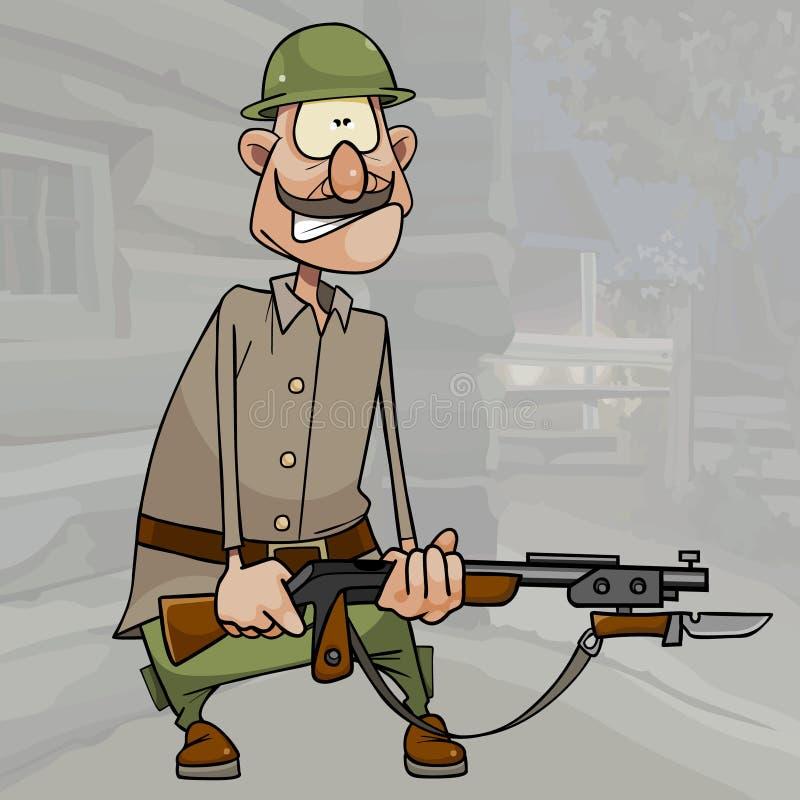 Soldat drôle de bande dessinée dans un casque et avec un revolver en ses mains illustration libre de droits