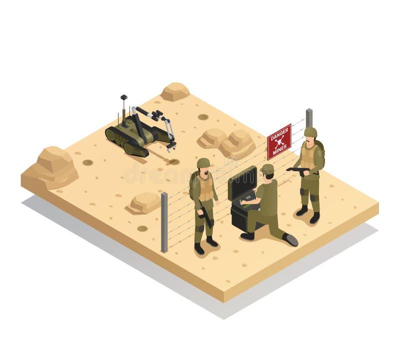 Soldat du génie Isometric Composition de robots illustration de vecteur
