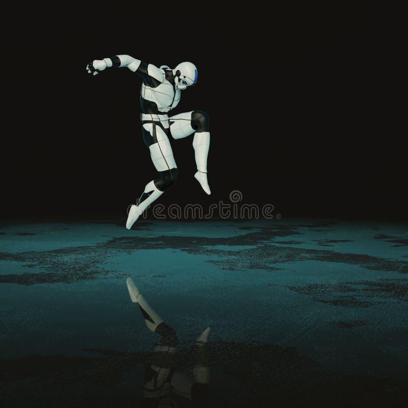 Soldat in einem dunklen Hintergrund vektor abbildung