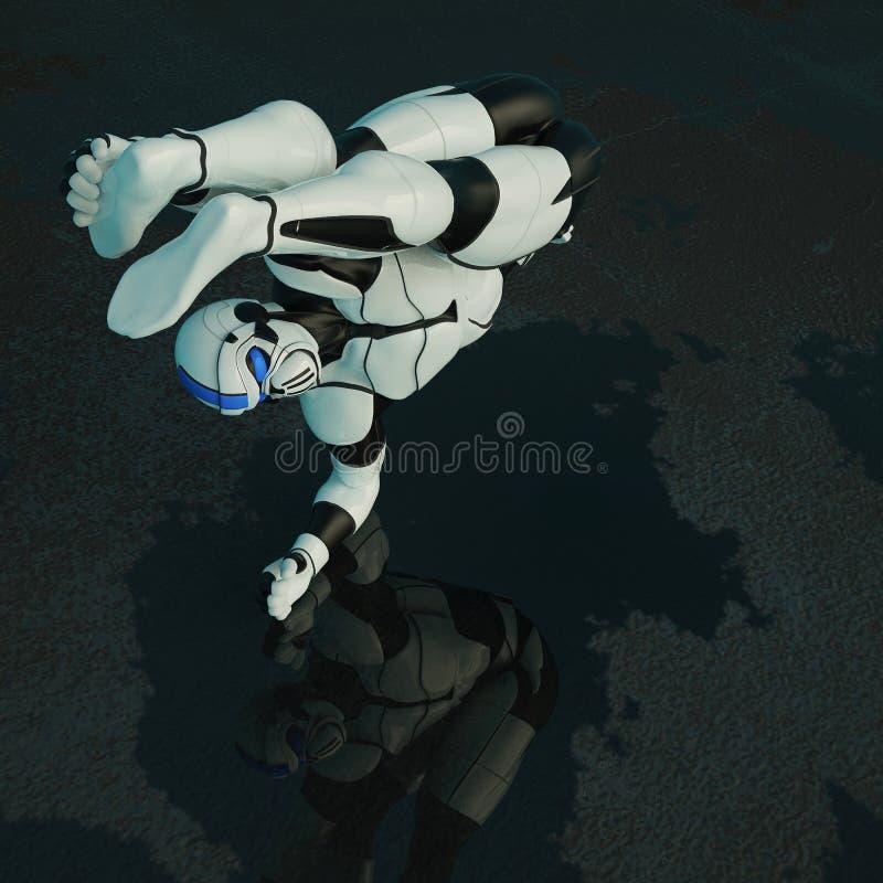 Soldat in einem dunklen Hintergrund stock abbildung