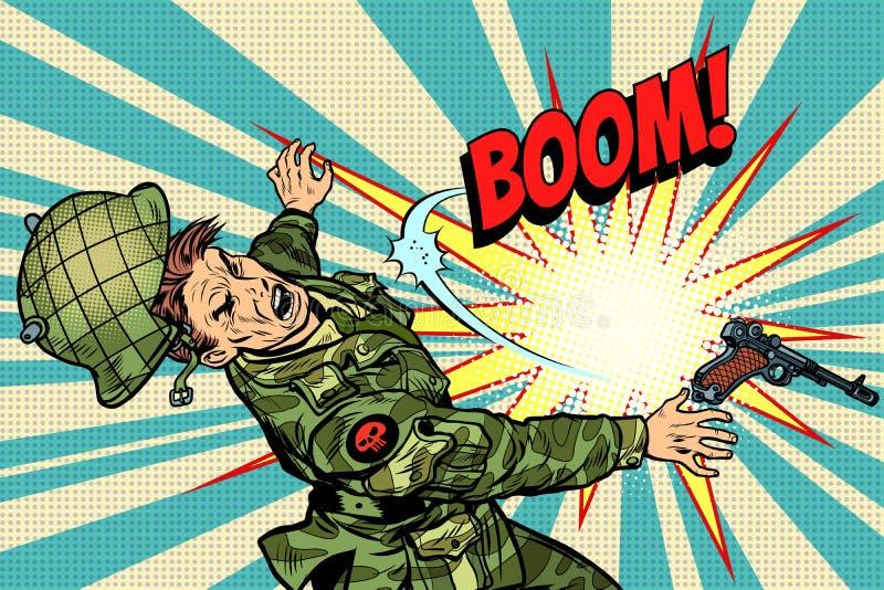 Soldat et explosion, la mort dans la guerre illustration de vecteur