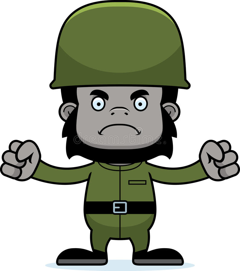 Soldat fâché Gorilla de bande dessinée illustration stock