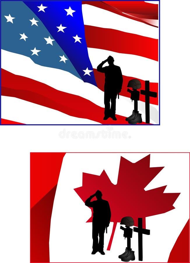 soldat för främre hemland för flagga deras salutera stock illustrationer