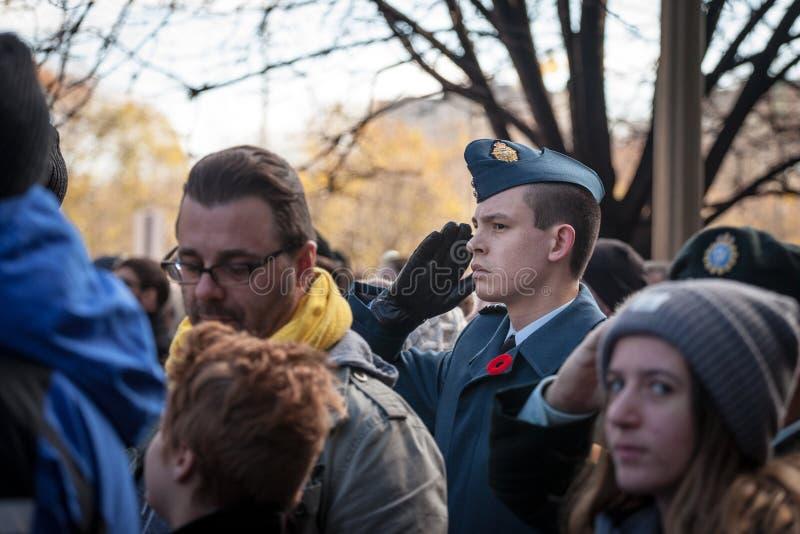 Soldat fr?n kanadensaren Royal Air Force som vallmo g?r f?r ett milit?rt honn?r- och b?raminne som st?r p? ceremoni f?r minne royaltyfri bild