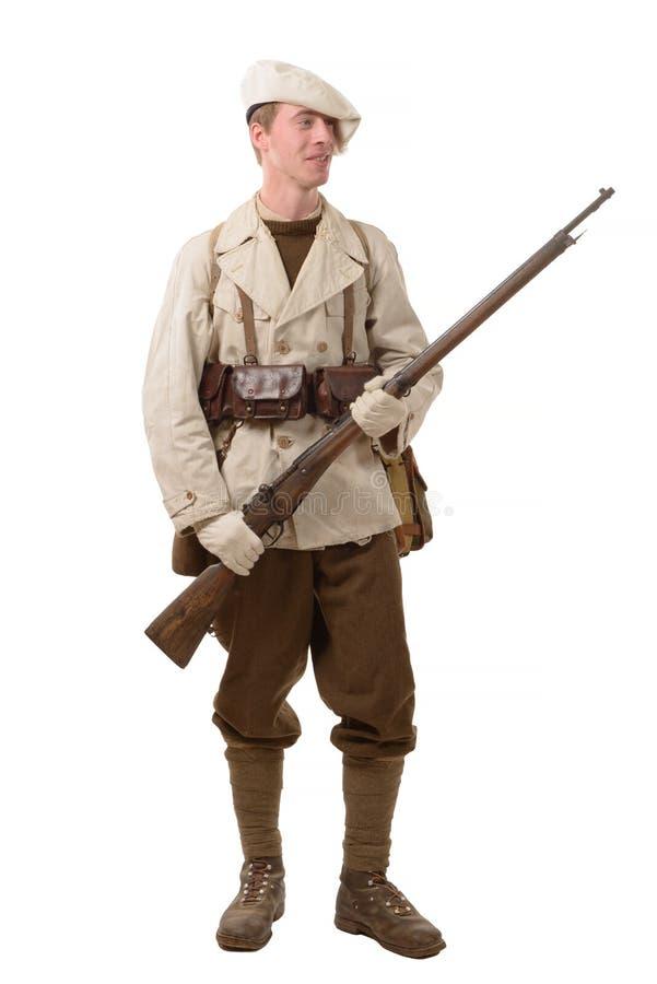 Soldat français d'infanterie de montagne dans la deuxième guerre mondiale image stock