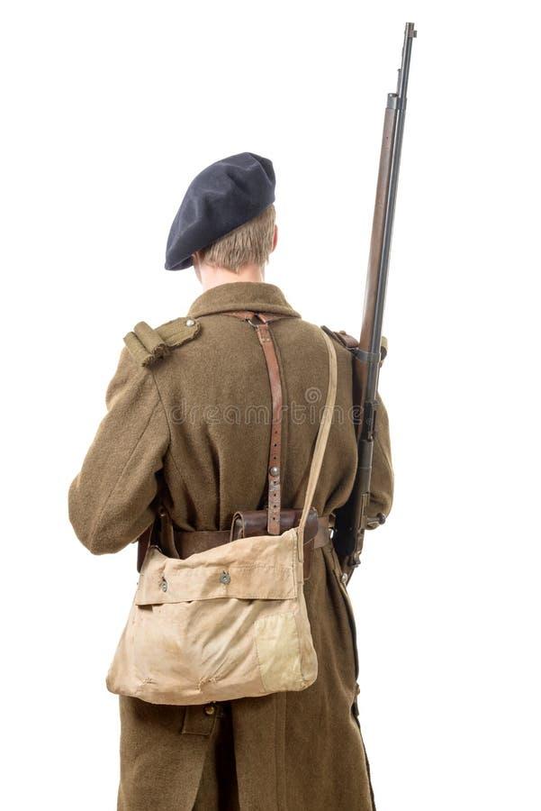 soldat français des années 40, vue arrière photographie stock