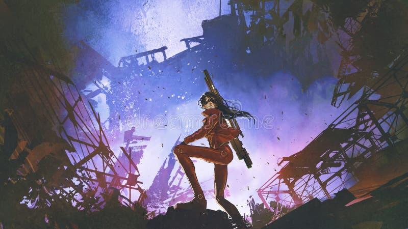Soldat futuriste dans le monde dystopique illustration libre de droits